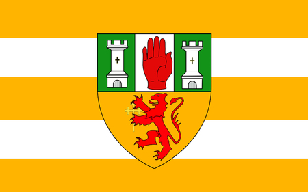 Flag of County Antrim (named after the town of Antrim) is one of six counties that form Northern Ireland, situated in the north-east of the island of Ireland.