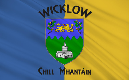 mideast: Flag of County Wicklow is a county in Ireland. The last of the traditional 32 counties to be formed, as late as 1606, it is part of the Mid-East Region and is also located in the province of Leinster
