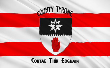 contae: Flag of County Tyrone is one of the six counties of Northern Ireland