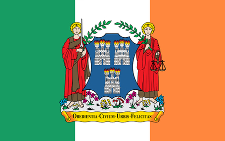 leinster: Flag of Dublin is the capital and largest city of Ireland. Dublin is in the province of Leinster on Irelands east coast, at the mouth of the River Liffey. Stock Photo