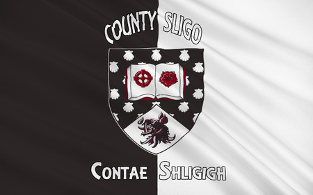 Flag of County Sligo is a county in Ireland. It is located in the Border Region and is also part of the province of Connacht. Sligo County Council is the local authority for the county. Stock Photo