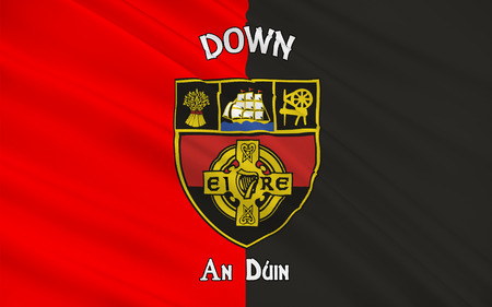 Flag of County Down is one of six counties that form Northern Ireland, situated in the northeast of the island of Ireland.