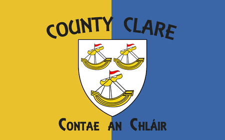 contae: Flag of County Clare is a county in Ireland, in the Mid-West Region and the province of Munster. Clare County Council is the local authority.