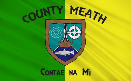 pledge of allegiance: Flag of County Meath is a county in Ireland. It is in the province of Leinster and is part of the Mid-East Region. It is named after the historic Kingdom of Meath. Meath County Council is the local authority for the county. Stock Photo