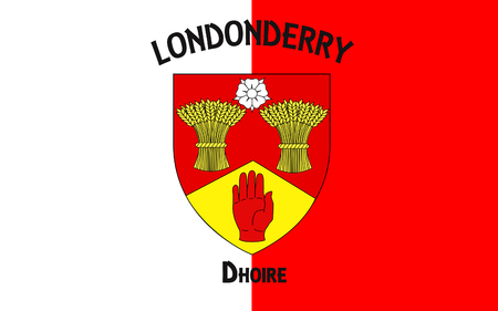 Flag of County Londonderry, also known as County Derry is one of the six counties of Northern Ireland.