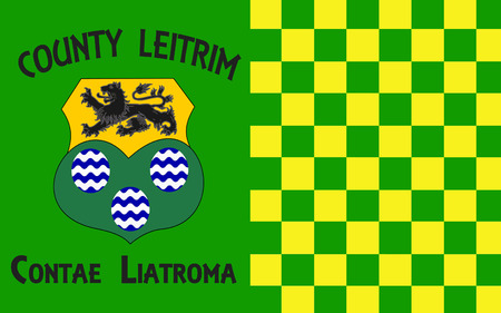 contae: Flag of County Leitrim is a county in Ireland. It is named after the village of Leitrim and is based on the historic Gaelic territory of West Breifne. Stock Photo
