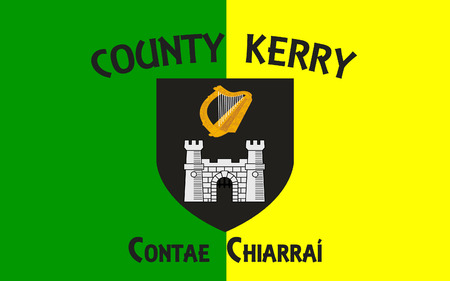 county tipperary: Flag of County Kerry is a county in Ireland. It is located in the South-West Region and is also part of the province of Munster. Kerry County Council is the local authority for the county and Tralee serves as the county town.