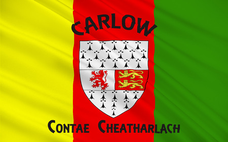 Flag of County Carlow is a county in Ireland. It is part of the South-East Region and is also located in the province of Leinster Stock Photo