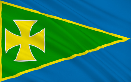 Flag of County Roscommon is a county in Ireland. It is located in the province of Connacht, and also the West Region. Stock Photo