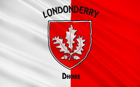 contae: Flag of County Londonderry, also known as County Derry is one of the six counties of Northern Ireland.