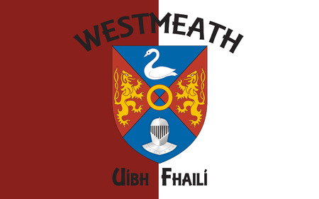 Flag of County Westmeath is a county in Ireland. It is in the province of Leinster and is part of the Midlands Region. It originally formed part of the historic Kingdom of Meath (Midhe).
