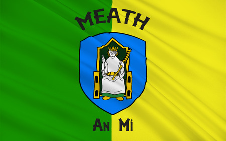 contae: Flag of County Meath is a county in Ireland. It is in the province of Leinster and is part of the Mid-East Region. It is named after the historic Kingdom of Meath. Meath County Council is the local authority for the county. Stock Photo