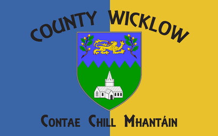 Flag of County Wicklow is a county in Ireland. The last of the traditional 32 counties to be formed, as late as 1606, it is part of the Mid-East Region and is also located in the province of Leinster
