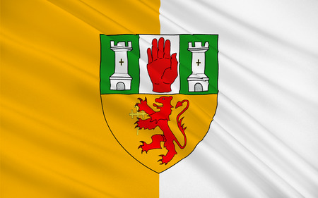 contae: Flag of County Antrim (named after the town of Antrim) is one of six counties that form Northern Ireland, situated in the north-east of the island of Ireland.