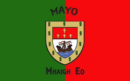 Flag of County Mayo is a county in Ireland. In the West of Ireland, it is part of the province of Connacht and is named after the village of Mayo, now generally known as Mayo Abbey. Stock Photo