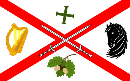 mideast: Flag of County Kildare is a county in Ireland. It is located in the province of Leinster and is part of the Mid-East Region. It is named after the town of Kildare.