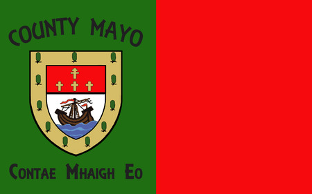 sligo: Flag of County Mayo is a county in Ireland. In the West of Ireland, it is part of the province of Connacht and is named after the village of Mayo, now generally known as Mayo Abbey. Stock Photo