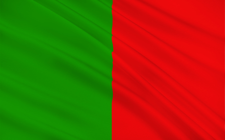 contae: Flag of County Mayo is a county in Ireland. In the West of Ireland, it is part of the province of Connacht and is named after the village of Mayo, now generally known as Mayo Abbey. Stock Photo