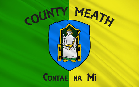 mideast: Flag of County Meath is a county in Ireland. It is in the province of Leinster and is part of the Mid-East Region. It is named after the historic Kingdom of Meath. Meath County Council is the local authority for the county. Stock Photo