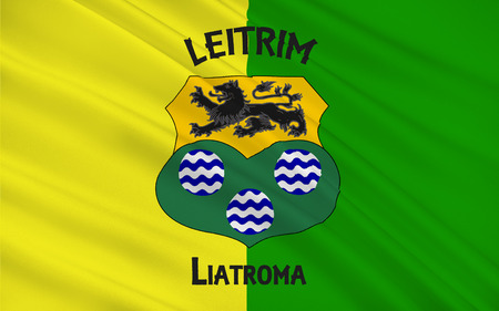 sligo: Flag of County Leitrim is a county in Ireland. It is named after the village of Leitrim and is based on the historic Gaelic territory of West Breifne. Stock Photo