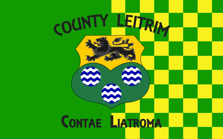 pledge of allegiance: Flag of County Leitrim is a county in Ireland. It is named after the village of Leitrim and is based on the historic Gaelic territory of West Breifne. Stock Photo