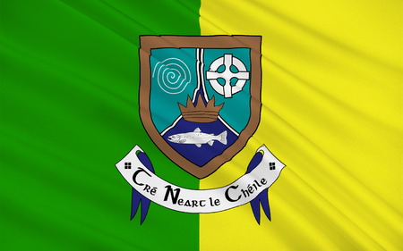 county meath: Flag of County Meath is a county in Ireland. It is in the province of Leinster and is part of the Mid-East Region. It is named after the historic Kingdom of Meath. Meath County Council is the local authority for the county. Stock Photo