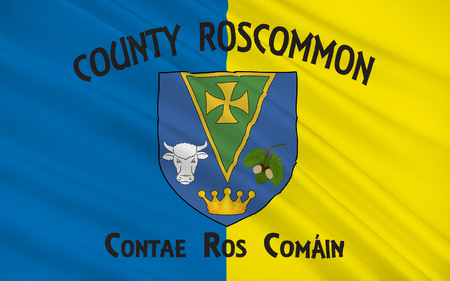 contae: Flag of County Roscommon is a county in Ireland. It is located in the province of Connacht, and also the West Region. Stock Photo