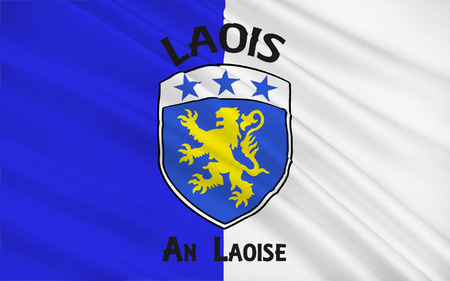 contae: Flag of County Laois is a county in Ireland. It is part of the Midlands Region and is also located in the province of Leinster, and was formerly known as Queens County Stock Photo