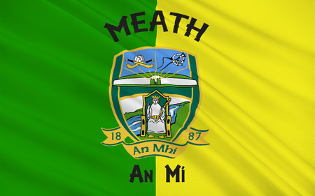 Flag of County Meath is a county in Ireland. It is in the province of Leinster and is part of the Mid-East Region. It is named after the historic Kingdom of Meath. Meath County Council is the local authority for the county. Stock Photo