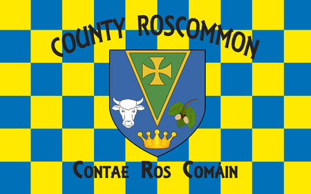 sligo: Flag of County Roscommon is a county in Ireland. It is located in the province of Connacht, and also the West Region. Stock Photo