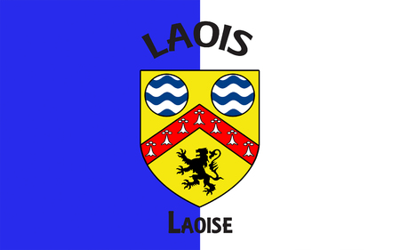 leinster: Flag of County Laois is a county in Ireland. It is part of the Midlands Region and is also located in the province of Leinster, and was formerly known as Queens County Stock Photo