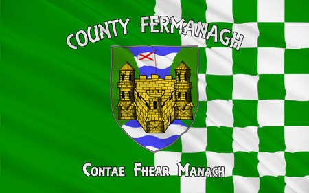 contae: Flag of County Fermanagh is one of the six counties of Northern Ireland.