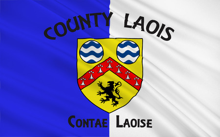 Flag of County Laois is a county in Ireland. It is part of the Midlands Region and is also located in the province of Leinster, and was formerly known as Queens County Stock Photo