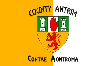 pledge of allegiance: Flag of County Antrim (named after the town of Antrim) is one of six counties that form Northern Ireland, situated in the north-east of the island of Ireland.