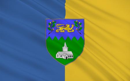 llegar tarde: Bandera del condado de Wicklow es un condado en Irlanda. El último de los 32 condados tradicionales que ha de formarse, tan tarde como en 1606, es parte de la región de Oriente Medio-y también se encuentra en la provincia de Leinster Foto de archivo