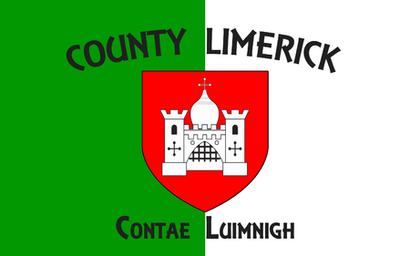 Flag of County Limerick is a county in Ireland. It is located in the province of Munster, and is also part of the Mid-West Region. Limerick City and County Council is the local council for the county. Stock Photo