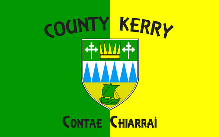 contae: Flag of County Kerry is a county in Ireland. It is located in the South-West Region and is also part of the province of Munster. Kerry County Council is the local authority for the county and Tralee serves as the county town.