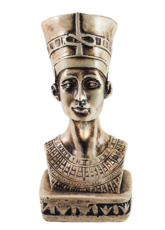 queen nefertiti: Bust of Queen Nefertiti isolated on white Stock Photo