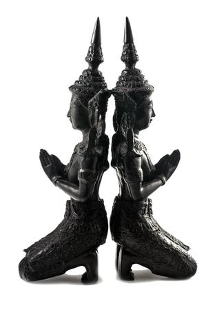 statuettes: Thai Buddhist Teppanom Angel Statuettes on white backgroung