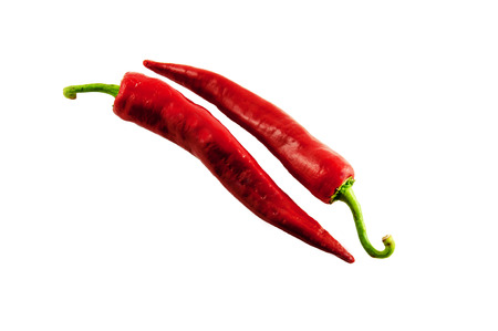 chilly: Red Hot Chilly peppers on white background Stock Photo