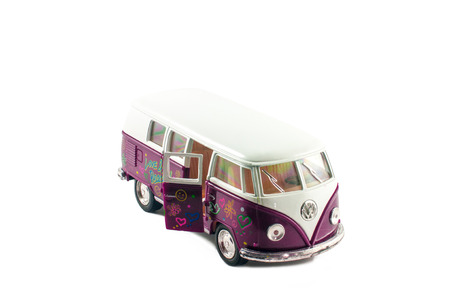 minibus: Small toy minibus isolated on white background
