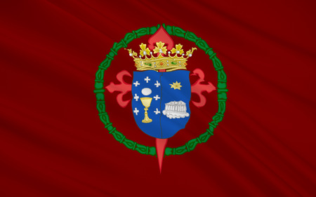 northwestern: Flag of Santiago de Compostel is the capital of the autonomous community of Galicia in northwestern Spain.