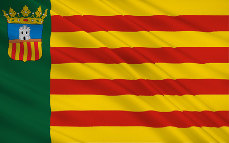 iberian: Flag of Castello is the province of Castello, in the Valencian Community, Spain, in the east of the Iberian Peninsula, on the Costa del Azahar by the Mediterranean Sea. Stock Photo