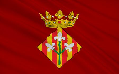 レリダの旗は、スペイン、カタルーニャ州リェイダ県の首都の西の都市 ...