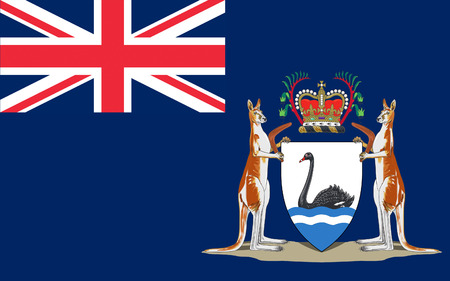 occupying: Flag of Western Australia (WA) is a state occupying the entire western third of Australia. Stock Photo