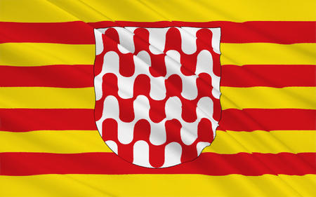 northeast: Flag of Girona is a city in the northeast of the Autonomous Community of Catalonia in Spain