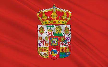 castilla: Flag of Ciudad Real is a province in the southwestern part of the autonomous community of Castile-La Mancha, Spain. Stock Photo