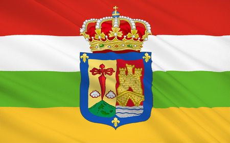 peninsula: Flag of the La Rioja is an autonomous community and a province in Spain, located in the north of the Iberian Peninsula. Its capital is Logrono. Stock Photo