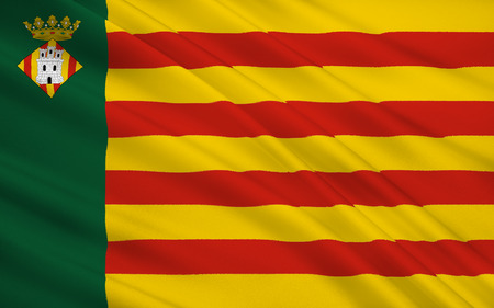 mediterranean: Flag of Castellon de la Plana is the capital city of the province of Castello, in the Valencian Community, Spain, in the east of the Iberian Peninsula, on the Costa del Azahar by the Mediterranean Sea. Stock Photo