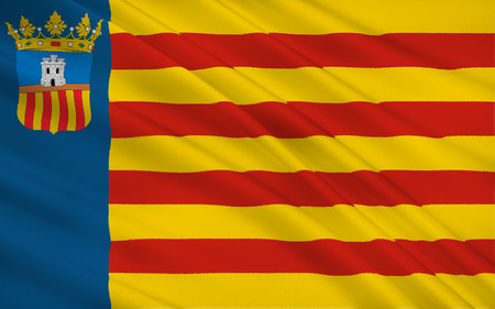 valencian: Flag of Castello is the province of Castello, in the Valencian Community, Spain, in the east of the Iberian Peninsula, on the Costa del Azahar by the Mediterranean Sea. Stock Photo